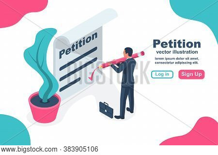 Petition Concept. Businessman Writes Petition. Isolated Icon On White Background. Vector Illustratio