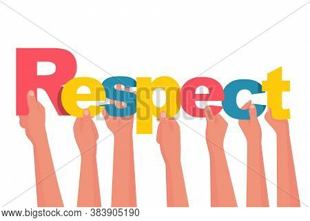Respect Concept. People Are Holding Letters In Their Hands. Vector Illustration Flat Design. Isolate