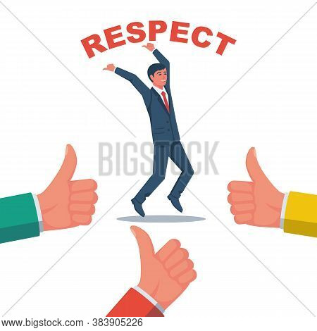 Respect Successful Manager. Vector Illustration Flat Design. Isolated On White Background. Complimen