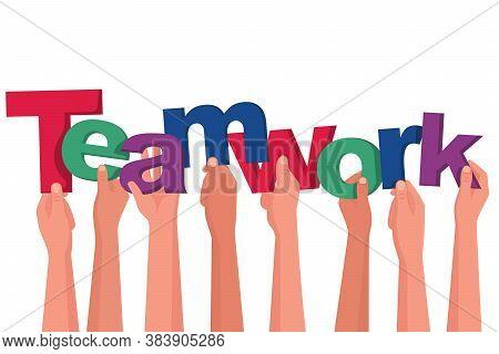 Landing Page Teamwork. Teamwork Of Businessmen Holds In Hand Letters Word. People Creative. Symbol B