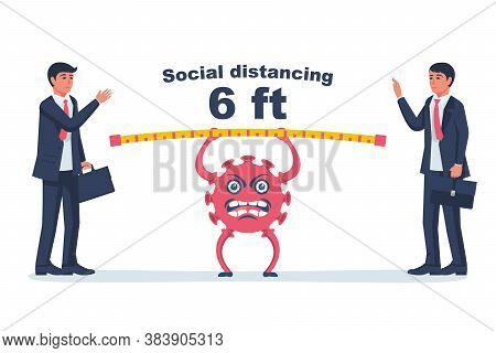Social Distancing Concept. Landing Page Social Awareness. Two Businessmen At Meeting At Distance Of