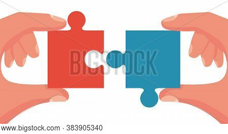 Teamwork Concept. Symbol Of Association And Connection. Puzzle Hold In Hands Businessman. Vector Ill