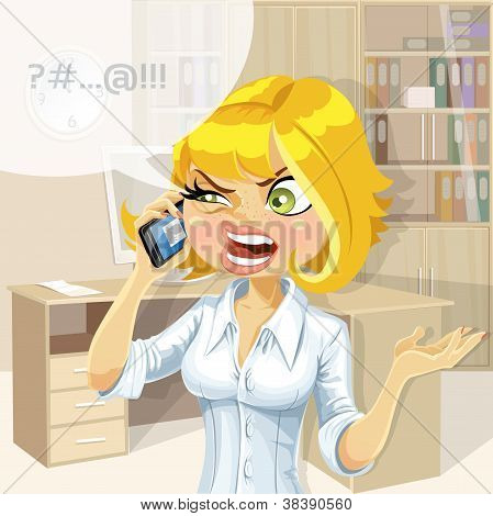 Cute blond in office girl talking on the phone about something unpleasant