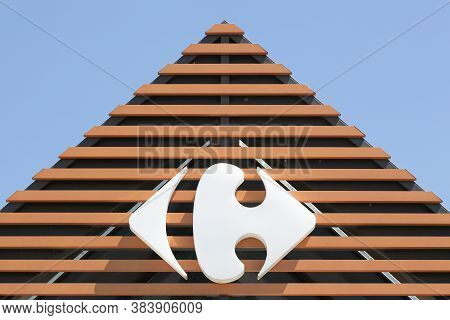 Mably, France - May 31, 2020:  Carrefour Sign On A Wall. Carrefour Is A French Multinational Retaile