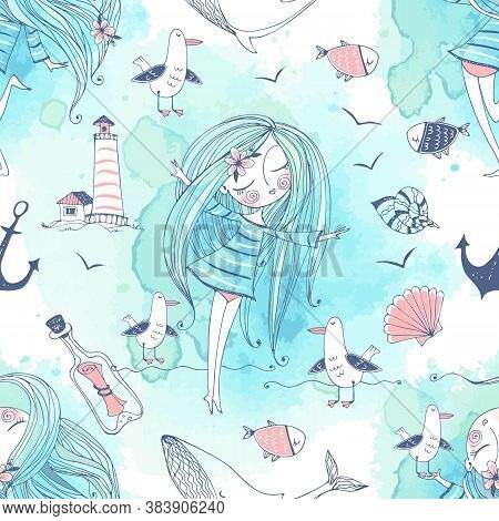 Seamless Pattern On The Sea Theme With Cute Girls, Whales And Seagulls In A Cute Doodle Style With W