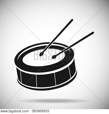 Drum Icon, Black Drum On A Light Background. Vector, Cartoon Illustration.