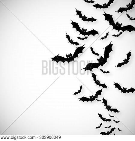 Flock Of Bats, Flying Vector Art Illustration.