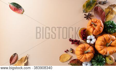 Autumn Background Decor From Dry Leaves And Pumpkin On Pastel Paper Background. Flat Lay, Top View W