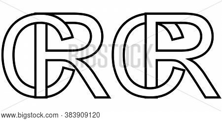 Logo Sign Rc Cr Icon Sign Two Interlaced Letters R, C Vector Logo Rc, Cr First Capital Letters Patte