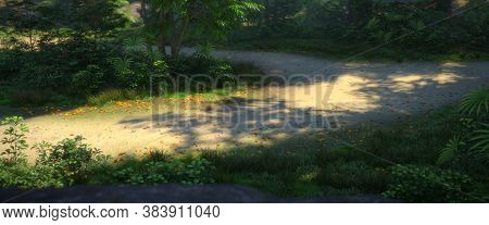 Landscape View Of Forest And Road Through Sunny Green Forest Illuminated By Sunbeams Through Mist