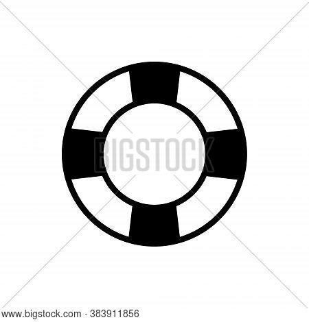 Lifesaver Flat Black Icon. Rubber Ring Vector Illustration Isolated On White.