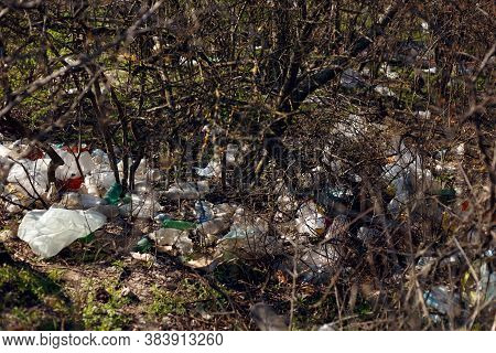 Plastic Bags, Bottle And Heap Garbages, Waste Discarded. Concept About Pollution Of Nature.