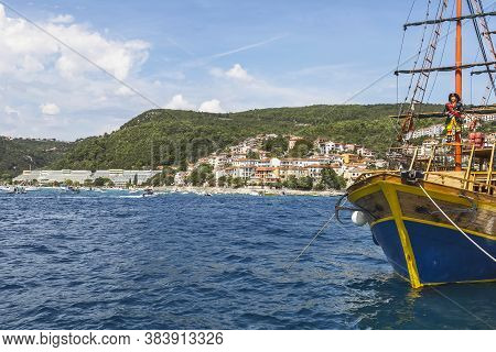 Rabac, Croatia - August 29, 2020 - View Of Rabac On The Beach Girandella With Boats In The Harbor, I
