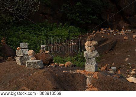 Pyramid Of Pebbles Or Stones At Hampi Ruins Ancient City Image Is Taken At Hampi Karnataka India.