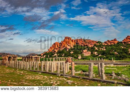 Hampi Ruins With Amazing Blue Sky Flat Angle Shot Image Is Taken At Hampi Karnataka India. This Is S