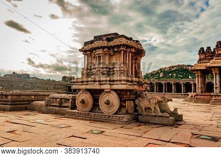 Hampi Stone Chariot The Antique Stone Art Piece From Unique Angle With Amazing Sky Image Is Taken At