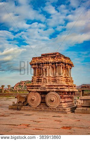 Hampi Stone Chariot The Antique Stone Art Piece From Unique Angle With Amazing Blue Sky Image Is Tak