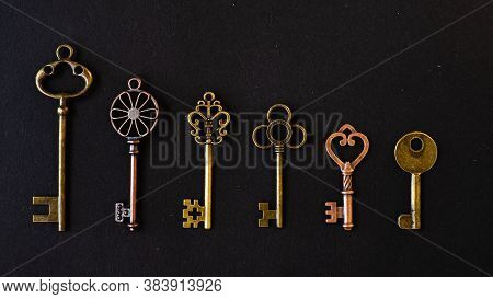 Many Different Old Keys From Different Locks, In Order In A Line, Flat Lay. Finding The Right Key, E