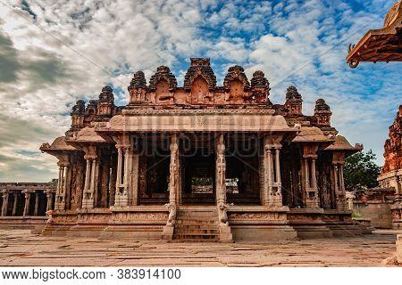 Vithala Temple Hampi Ruins Antique Stone Art From Unique Angle Image Is Taken At Hampi Karnataka Ind