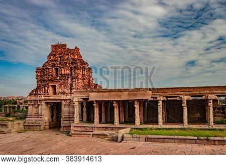 Vithala Temple Hampi Ruins Antique Stone Art From Unique Angle With Amazing Blue Sky