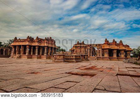 Vithala Temple Hampi Ruins Antique Stone Art From Unique Angle