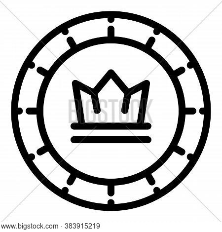 Crown Token Icon. Outline Crown Token Vector Icon For Web Design Isolated On White Background
