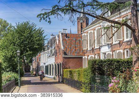 Historic Street With Old Houses And Church Tower In Loenen Aan De Vecht, Netherlands