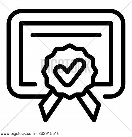 Quality Diploma Icon. Outline Quality Diploma Vector Icon For Web Design Isolated On White Backgroun