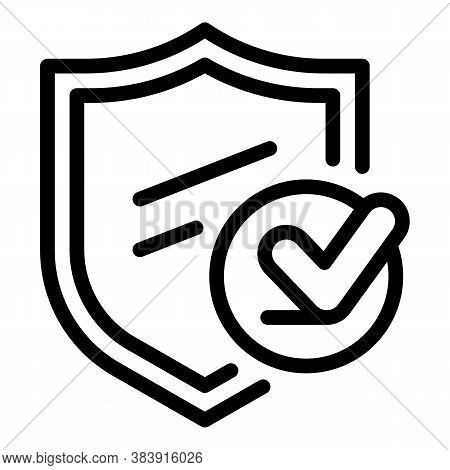 Shield Done Icon. Outline Shield Done Vector Icon For Web Design Isolated On White Background