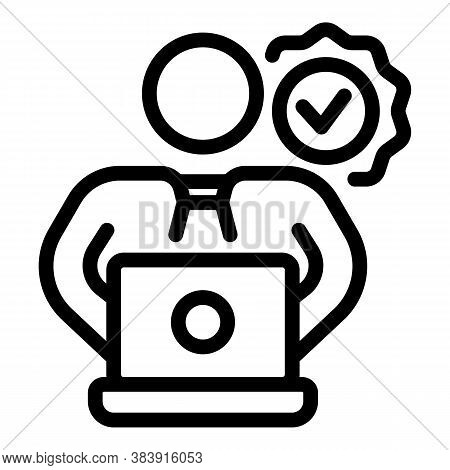 Quality Assurance Man Icon. Outline Quality Assurance Man Vector Icon For Web Design Isolated On Whi