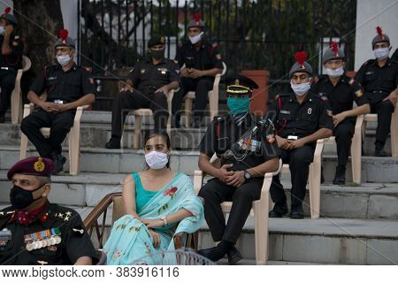 Dehradun, Uttarakhand/India- August 01 2020: IMA passing out parade in under Covid 19 threat, army o