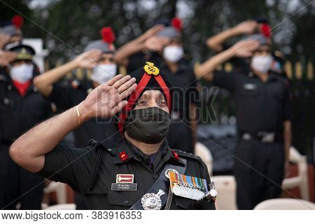 Dehradun, Uttarakhand/india- August 15 2020: Indian Army Officer Doing Salute, Wearing Face Mask.
