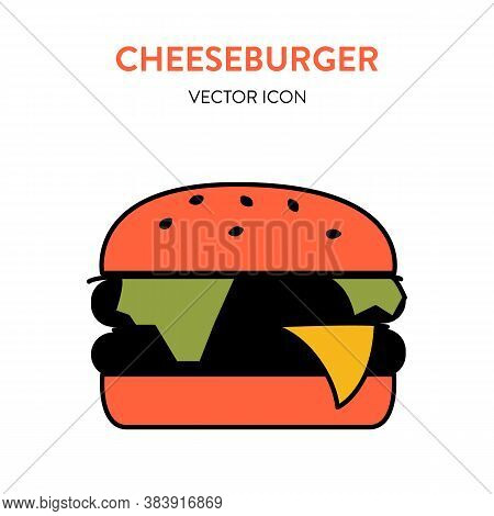Burger Colorful Icon. Vector Illustration Of A Big Hot Delicious Cheeseburger With Meat, Melting Che