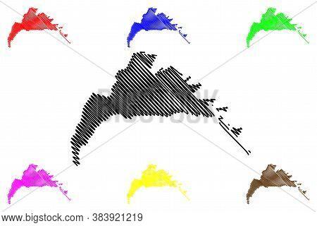 Arak City (islamic Republic Of Iran, Persia, Markazi Province) Map Vector Illustration, Scribble Ske