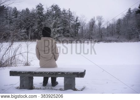 A Woman Sitting On A Snow Covered Bench Overlooking A Frozen Pond Within The White Memorial Conserva