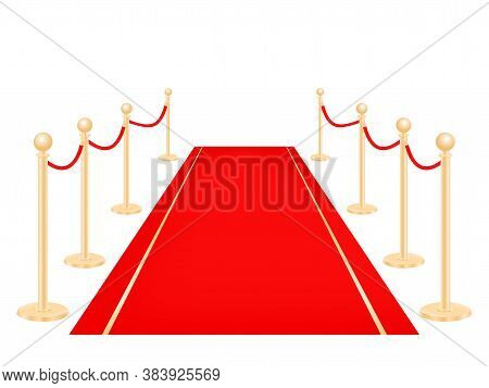 Red Carpet And Golden Barriers Vector Illustration Isolated On White. Vip Ceremony Celebration For C