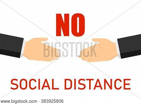 Maintain Social Distance. Handshaking Is Prohibited. Vector Illustration. Vector.