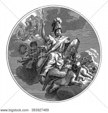 Ceiling piece with the goddess Minerva, enthroned on the clouds with helmet, spear and shield, vintage engraving.