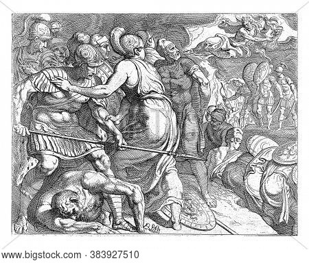 Jupiter and Minerva stop the battle between Odysseus and the Ithacans,  Jupiter stops the battle between Odysseus and the Ithacans, vintage engraving.
