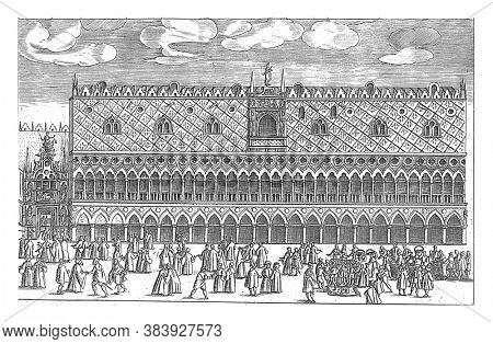 Facade of the Doge's Palace in Venice, anonymous, 1610 Facade of the Doge's Palace with activity in the foreground on the Piazzetta, vintage engraving.