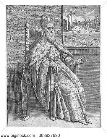 The doge sitting in an interior. On the right a view to St. Mark's Square in Venice. Three-line Italian text in the bottom margin, vintage engraving.