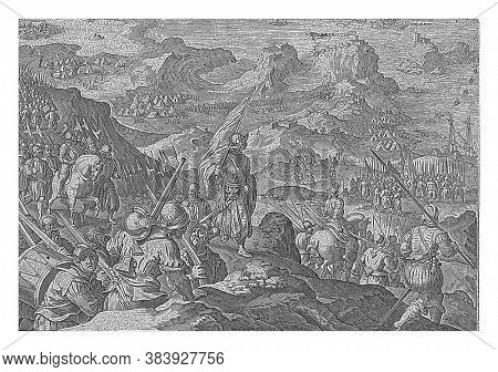 Siege and capture of Porto Ercole (1555). Cosimo I de 'Medici's troops arrive in the mountain landscape around Porto Ercole, vintage engraving.