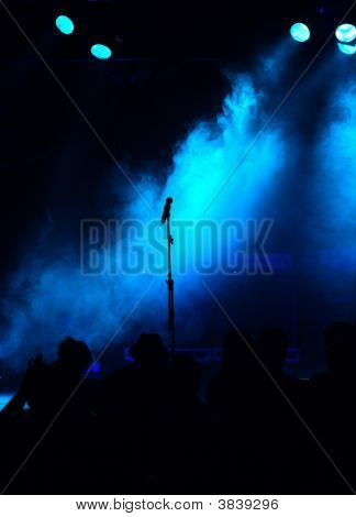 Empty Blue Stage And Audience Silhouette