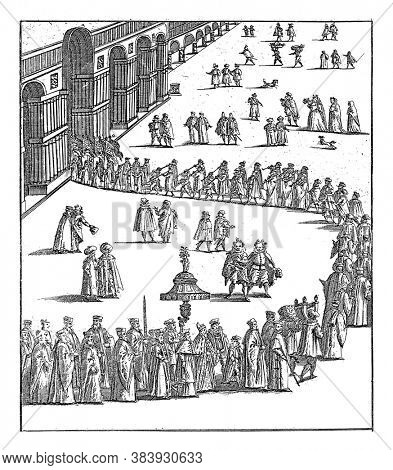 Procession with St. Doge and the Serenissima Signoria, the Board of Venice. Two-line Italian text in bottom margin, vintage engraving.
