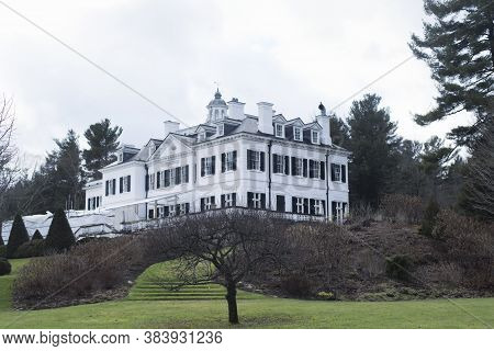 The Gardens And Back Of The Historic Landmark The Mount Located In Lenox Massachusetts In The Berksh