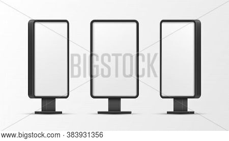 Lightboxes Vertical Empty Mockups Set. Screen Illuminated Outdoor Templates For Advertisement.