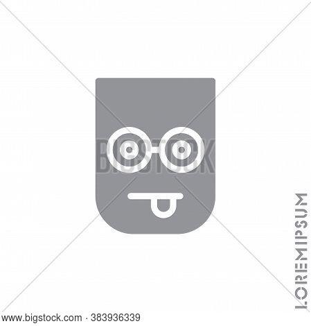 Mocking Funny Humor Emoticon Icon Vector Illustration. Style. Gray On White Background