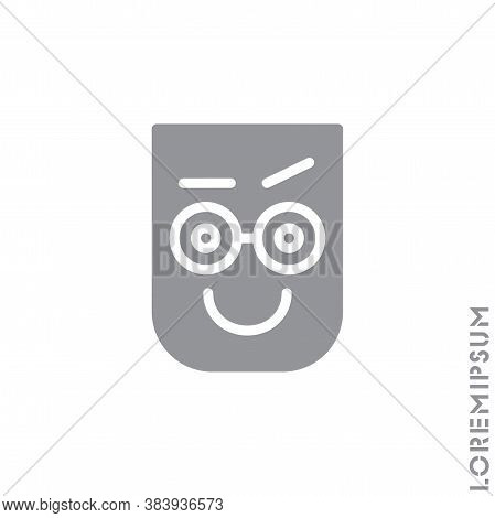 Big Smile Contented Smile With Raised Eyebrow Emoticon Icon Vector Illustration. Style. Laughing, Em