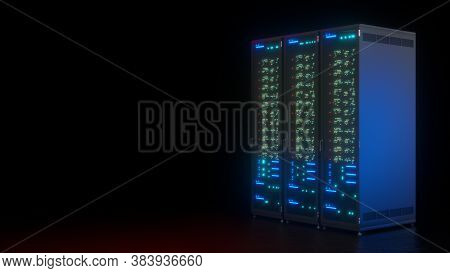 Server Data Farm Computer On Black Background. Connection And Cyber Network In Dark Servers. Backup,