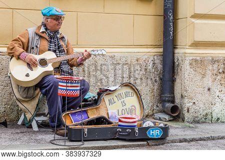 Zagreb, Croatia - May, 07, 2017: Street Artist In In The Old Center Of Zagreb, Croatia